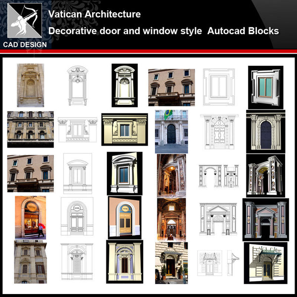 ★【Vatican Architecture Style Design】Vatican architecture · Decorative door and window style CAD Drawings - Architecture Autocad Blocks,CAD Details,CAD Drawings,3D Models,PSD,Vector,Sketchup Download