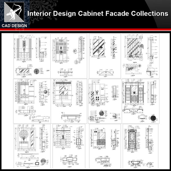 ★【Interior Design Cabinet Facade Autocad Drawings】Cabinet CAD Elevation Bundle - Architecture Autocad Blocks,CAD Details,CAD Drawings,3D Models,PSD,Vector,Sketchup Download