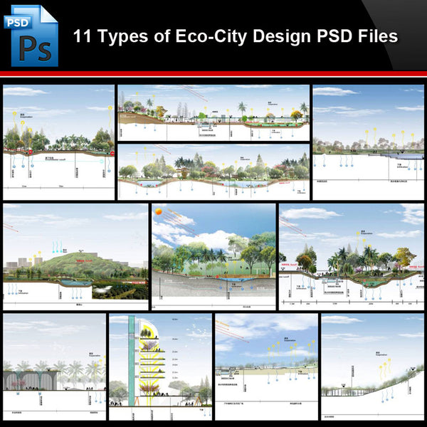 ★Photoshop PSD Files-11 Types of Eco-City Design PSD Files(Total 1.65GB) - Architecture Autocad Blocks,CAD Details,CAD Drawings,3D Models,PSD,Vector,Sketchup Download