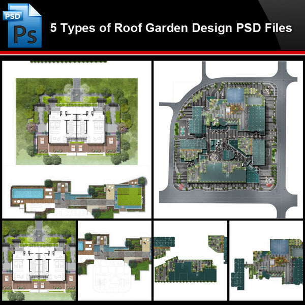 ★Photoshop PSD Files-5 Types of Roof Garden Design PSD Files (Total 1.89GB) - Architecture Autocad Blocks,CAD Details,CAD Drawings,3D Models,PSD,Vector,Sketchup Download