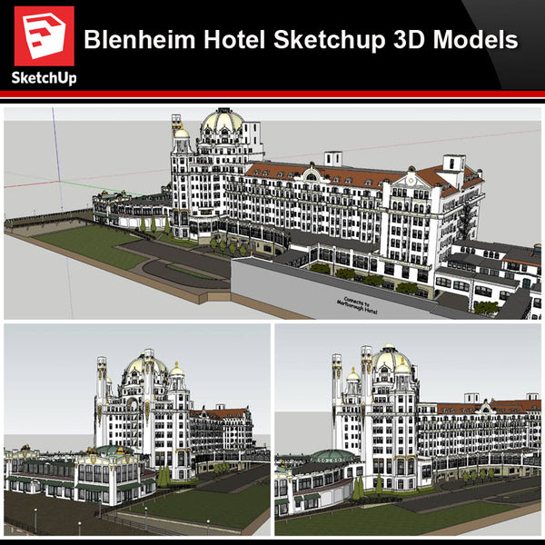 💎【Sketchup Architecture 3D Projects】Blenheim Hotel Sketchup 3D Models - Architecture Autocad Blocks,CAD Details,CAD Drawings,3D Models,PSD,Vector,Sketchup Download