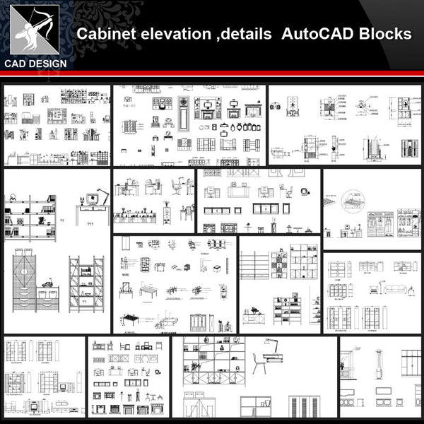 ★【Cabinet Autocad Blocks,elevation,details Collections】All kinds of Cabinet Design CAD Drawings