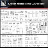 ★【Kitchen related items Autocad Blocks Collections】All kinds of Kitchen CAD Blocks - Architecture Autocad Blocks,CAD Details,CAD Drawings,3D Models,PSD,Vector,Sketchup Download
