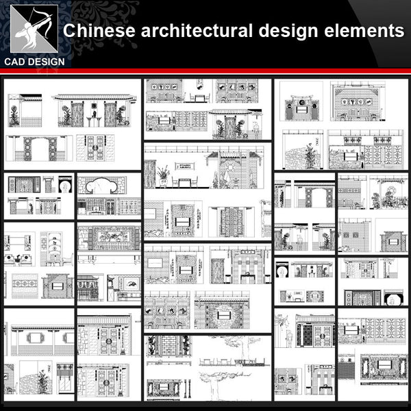 ★【Chinese Architectural Design CAD elements】All kinds of Chinese Architectural CAD Blocks Bundle - Architecture Autocad Blocks,CAD Details,CAD Drawings,3D Models,PSD,Vector,Sketchup Download