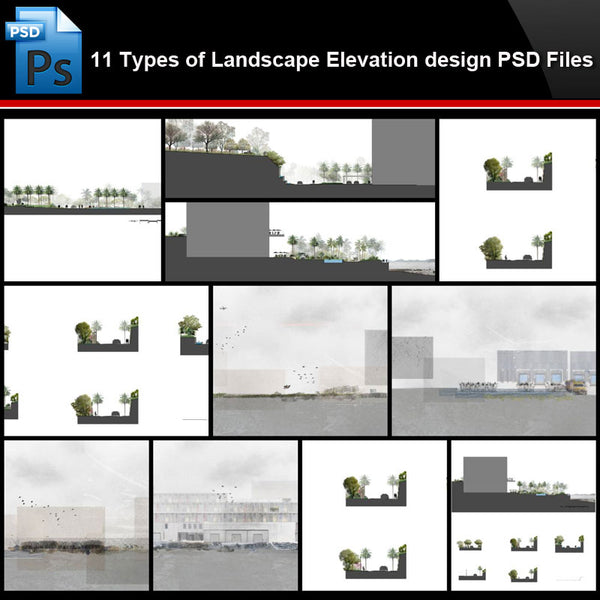 ★Photoshop PSD Files-11 Types of Landscape Elevation design PSD Files(Total 2.67GB) - Architecture Autocad Blocks,CAD Details,CAD Drawings,3D Models,PSD,Vector,Sketchup Download