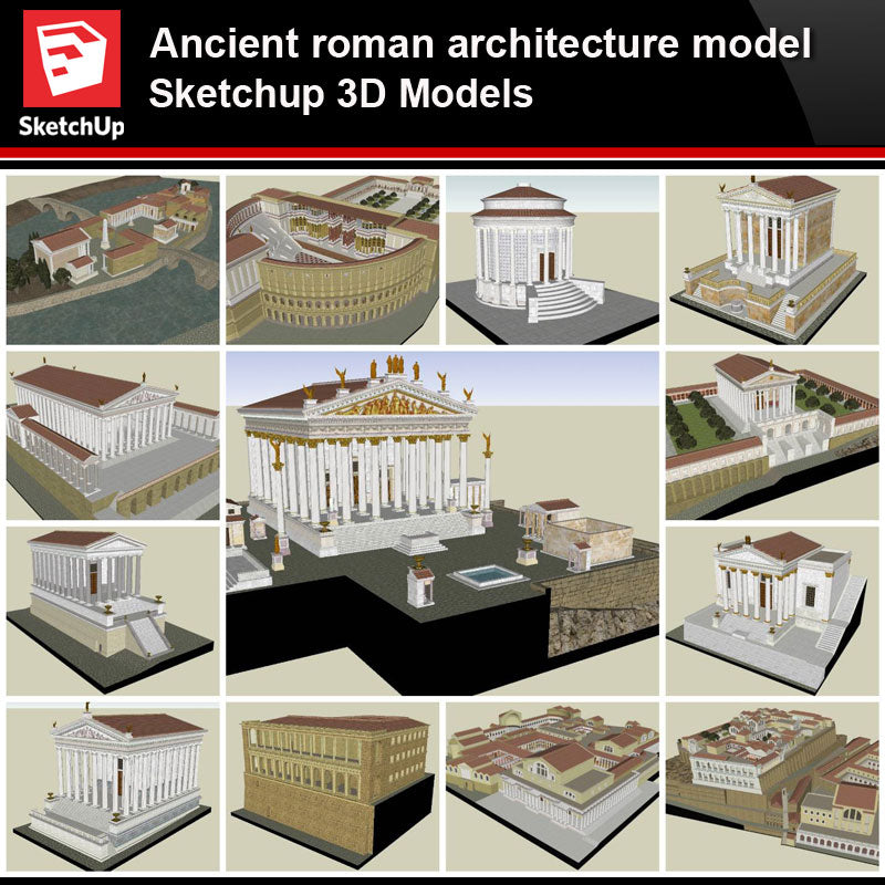 💎【Sketchup Architecture 3D Projects】Ancient roman architecture model- Sketchup 3D Models V2