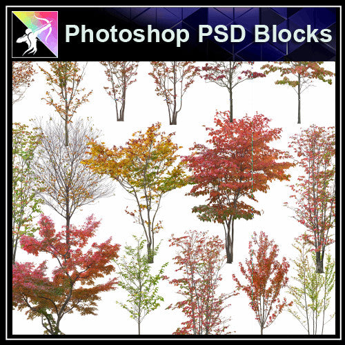 ★Photoshop PSD Landscape Blocks-Trees & Bushes Blocks V.1 - Architecture Autocad Blocks,CAD Details,CAD Drawings,3D Models,PSD,Vector,Sketchup Download