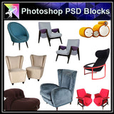 【Photoshop PSD Blocks】Sofa & Chair PSD Blocks V.1 - Architecture Autocad Blocks,CAD Details,CAD Drawings,3D Models,PSD,Vector,Sketchup Download