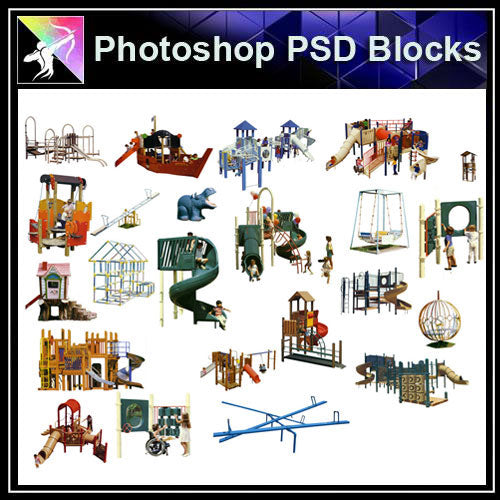 【Photoshop PSD Blocks】Facilities for children PSD Blocks 3 - Architecture Autocad Blocks,CAD Details,CAD Drawings,3D Models,PSD,Vector,Sketchup Download