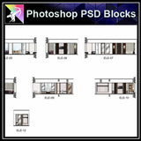 ★Interior Design Plan & Elevation Elements-Photoshop PSD Blocks V.13
