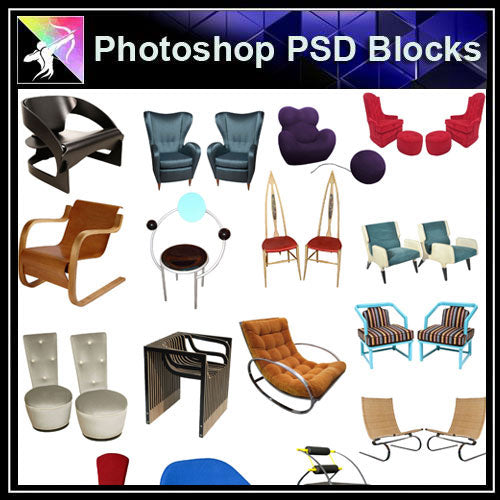 【Photoshop PSD Blocks】Sofa & Chair PSD Blocks V.5 - Architecture Autocad Blocks,CAD Details,CAD Drawings,3D Models,PSD,Vector,Sketchup Download
