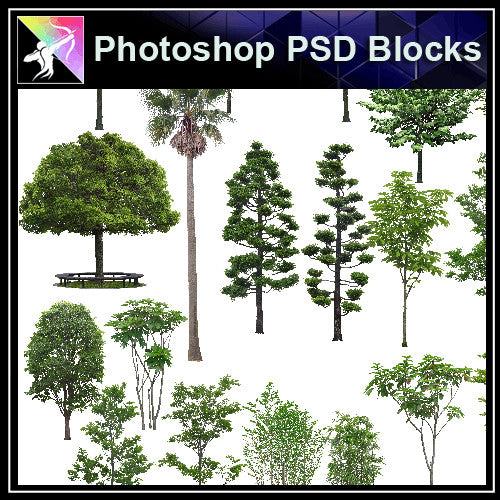 ★Photoshop PSD Landscape Blocks-Trees & Bushes Blocks V.5 - Architecture Autocad Blocks,CAD Details,CAD Drawings,3D Models,PSD,Vector,Sketchup Download