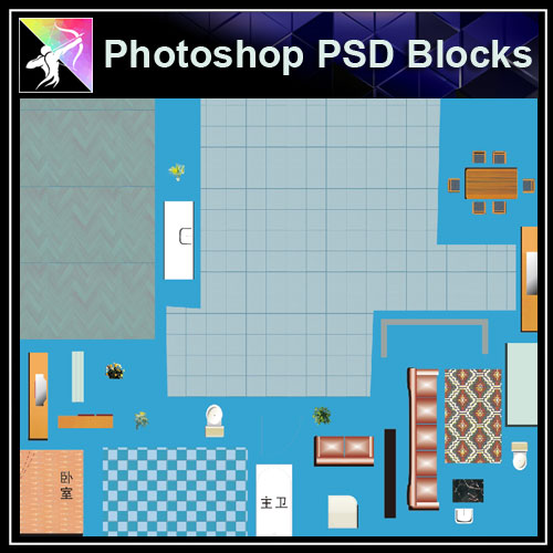 ★Interior Design Plan Photoshop PSD Blocks V.7 - Architecture Autocad Blocks,CAD Details,CAD Drawings,3D Models,PSD,Vector,Sketchup Download