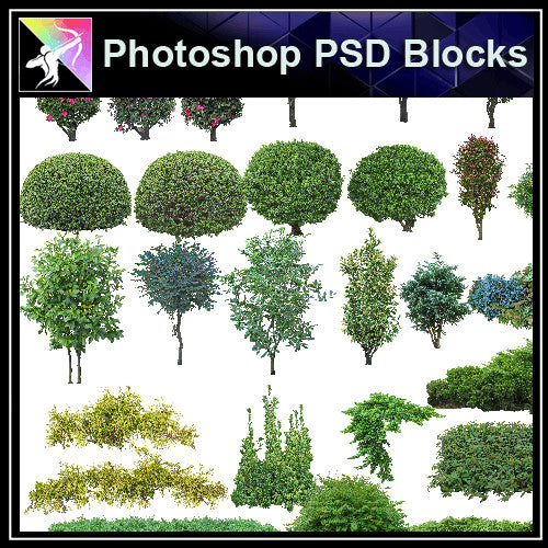★Photoshop PSD Landscape Blocks-Trees & Bushes Blocks V.7 - Architecture Autocad Blocks,CAD Details,CAD Drawings,3D Models,PSD,Vector,Sketchup Download