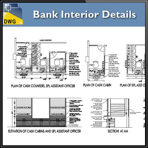 Architecture Cad Projects Bank Interior Design Cad Blocks Elevation