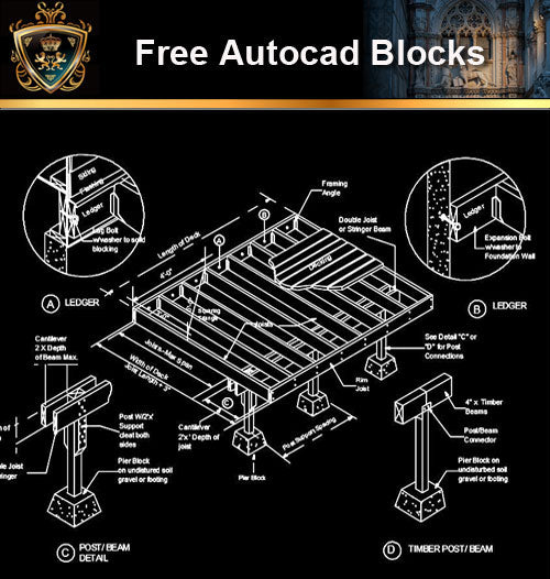★Free CAD Details-Deck Framing Details - Architecture Autocad Blocks,CAD Details,CAD Drawings,3D Models,PSD,Vector,Sketchup Download