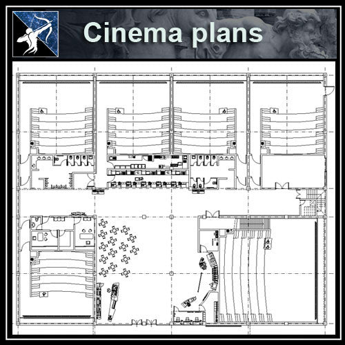 【Architecture CAD Projects】Cinema CAD Drawings ,CAD Blocks,Details