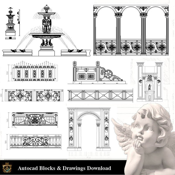 Architectural Decoration Elements CAD Blocks Bundle V.3 - Architecture Autocad Blocks,CAD Details,CAD Drawings,3D Models,PSD,Vector,Sketchup Download