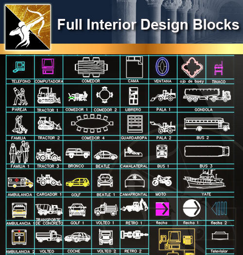 ★Full Interior Design Blocks 3 - Architecture Autocad Blocks,CAD Details,CAD Drawings,3D Models,PSD,Vector,Sketchup Download