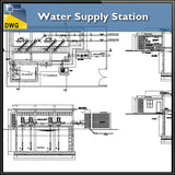【CAD Details】Water Supply Station CAD Details - Architecture Autocad Blocks,CAD Details,CAD Drawings,3D Models,PSD,Vector,Sketchup Download