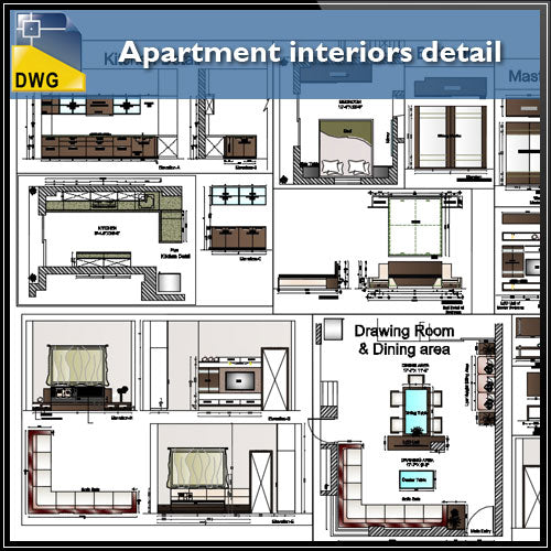 【Interior Design CAD Drawings】@Apartment interiors CAD Details - Architecture Autocad Blocks,CAD Details,CAD Drawings,3D Models,PSD,Vector,Sketchup Download