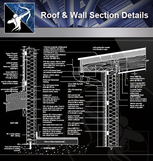 【Roof Details】Roof & Wall Section Details - Architecture Autocad Blocks,CAD Details,CAD Drawings,3D Models,PSD,Vector,Sketchup Download