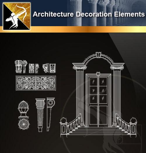Free CAD Architecture Decoration Elements 15 - Architecture Autocad Blocks,CAD Details,CAD Drawings,3D Models,PSD,Vector,Sketchup Download