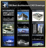 ★【108 World Famous Architecture CAD Drawings Bundle】 - Architecture Autocad Blocks,CAD Details,CAD Drawings,3D Models,PSD,Vector,Sketchup Download