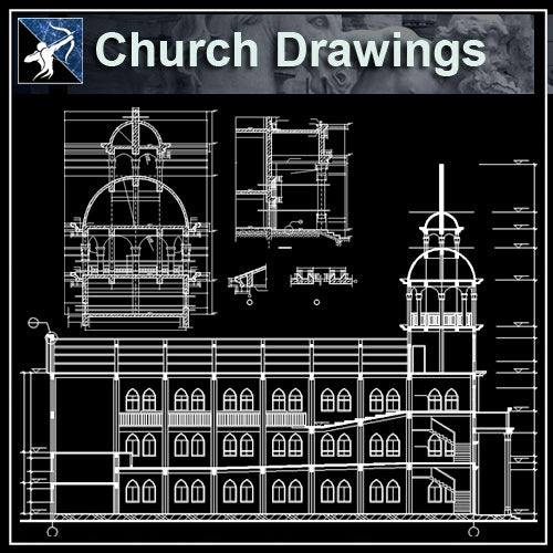 【Architecture CAD Projects】Church Architecture Design CAD Blocks,Plans,Layout V4