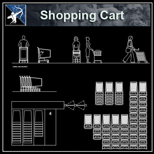 【Architecture CAD Projects】Supermarket Shopping Cart CAD Blocks,Plans