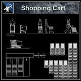 【Architecture CAD Projects】Supermarket Shopping Cart CAD Blocks,Plans - Architecture Autocad Blocks,CAD Details,CAD Drawings,3D Models,PSD,Vector,Sketchup Download