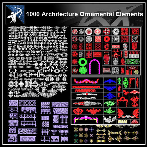 ★【1000 Architecture Ornamental Elements】 - Architecture Autocad Blocks,CAD Details,CAD Drawings,3D Models,PSD,Vector,Sketchup Download