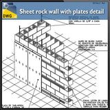 【CAD Details】Sheet rock wall with plates CAD Details