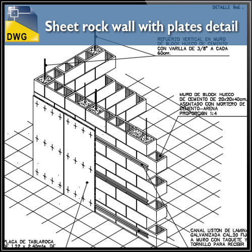 【CAD Details】Sheet rock wall with plates CAD Details - Architecture Autocad Blocks,CAD Details,CAD Drawings,3D Models,PSD,Vector,Sketchup Download