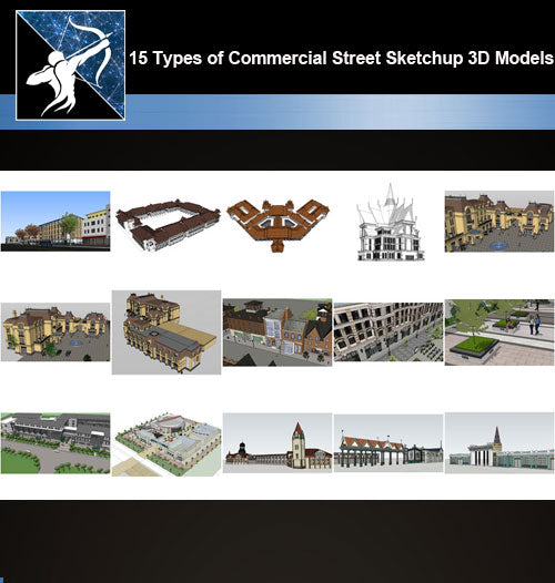 ★Best 15 Types of Commercial Street Design Sketchup 3D Models Collection V.1 - Architecture Autocad Blocks,CAD Details,CAD Drawings,3D Models,PSD,Vector,Sketchup Download