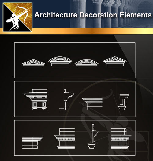 Free CAD Architecture Decoration Elements 13 - Architecture Autocad Blocks,CAD Details,CAD Drawings,3D Models,PSD,Vector,Sketchup Download