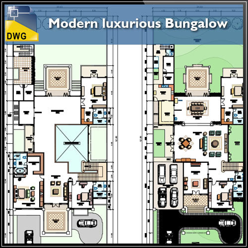 【Architecture CAD Projects】Modern Bungalows Design Plan,Villa CAD Drawings V.4 - Architecture Autocad Blocks,CAD Details,CAD Drawings,3D Models,PSD,Vector,Sketchup Download
