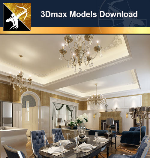 ★Download 3D Max Decoration Models -Dining Room V.4 - Architecture Autocad Blocks,CAD Details,CAD Drawings,3D Models,PSD,Vector,Sketchup Download
