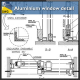 【CAD Details】Aluminium window detail and drawing in autocad dwg files - Architecture Autocad Blocks,CAD Details,CAD Drawings,3D Models,PSD,Vector,Sketchup Download