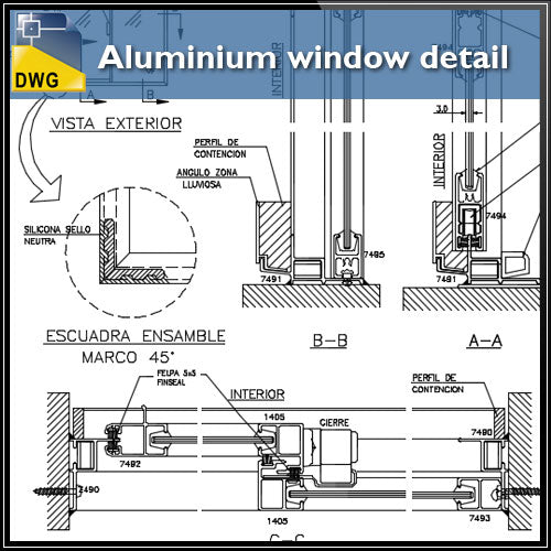 【CAD Details】Aluminium window detail and drawing in autocad dwg files