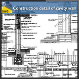【CAD Details】Construction detail of cavity wall design drawing
