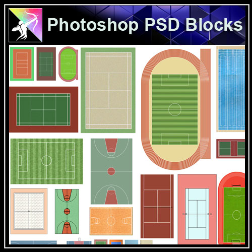 Photoshop PSD Landscape Court Blocks - Architecture Autocad Blocks,CAD Details,CAD Drawings,3D Models,PSD,Vector,Sketchup Download