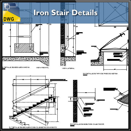 【CAD Details】Iron Stair CAD Details - Architecture Autocad Blocks,CAD Details,CAD Drawings,3D Models,PSD,Vector,Sketchup Download