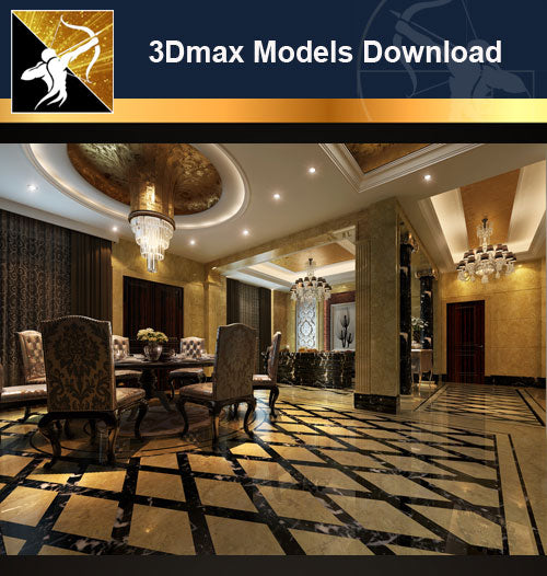 ★Download 3D Max Decoration Models -Dining Room V.18 - Architecture Autocad Blocks,CAD Details,CAD Drawings,3D Models,PSD,Vector,Sketchup Download