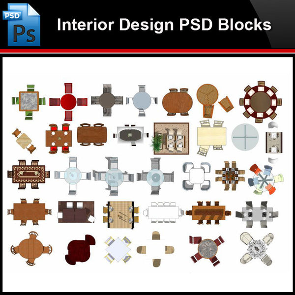 ★Photoshop PSD Blocks-Interior Design PSD Blocks -Table PSD Blocks - Architecture Autocad Blocks,CAD Details,CAD Drawings,3D Models,PSD,Vector,Sketchup Download