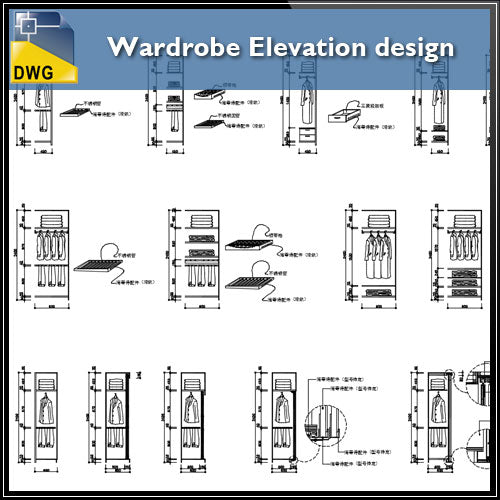 【Interior Design CAD Drawings】@Wardrobe Elevation design - Architecture Autocad Blocks,CAD Details,CAD Drawings,3D Models,PSD,Vector,Sketchup Download