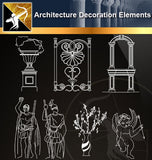 Free CAD Architecture Decoration Elements 2 - Architecture Autocad Blocks,CAD Details,CAD Drawings,3D Models,PSD,Vector,Sketchup Download