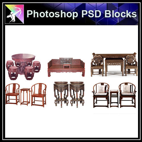 【Photoshop PSD Blocks】Chinese Chair 2 - Architecture Autocad Blocks,CAD Details,CAD Drawings,3D Models,PSD,Vector,Sketchup Download