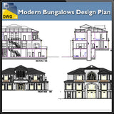 【Architecture CAD Projects】Modern Bungalows Design Plan,Villa CAD Drawings V.3