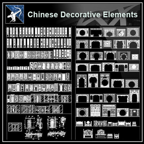 ★【Over 500+ Chinese Decorative elements-Frame,Pattern,Border,Door,Windows,Roof,Lattice,Carved Wood】 - Architecture Autocad Blocks,CAD Details,CAD Drawings,3D Models,PSD,Vector,Sketchup Download